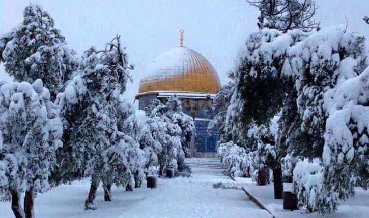 Snow at al Aqsa Mosque Jerusalem