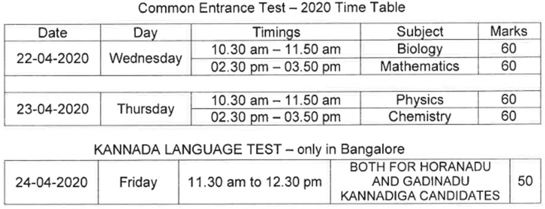 KCET 2020 Time Table