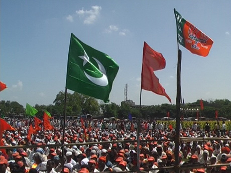 Shiv Sena Flag http://ummid.com/news/October/09.10.2009/green_flags_in_sena_rally.htm